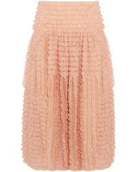 Chloé - Chloé Ruffled Lace-appliquéd Silk-organza Midi Skirt Blush - Lyst