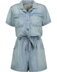 Current/Elliott - The Easy Jumper Belted Cotton-chambray Playsuit Light Denim Size 0 - Lyst
