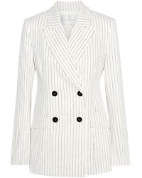 Rebecca Vallance Tate Double-breasted Pinstriped Linen-blend Blazer Ivory - White