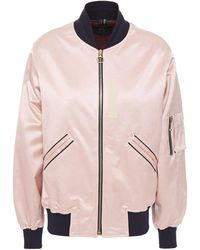 PS by Paul Smith Cotton-blend Satin Bomber Jacket Pastel Pink