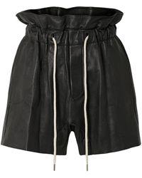 Bassike Shorts Aus Leder - Schwarz