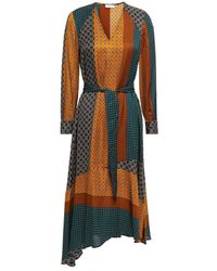 Claudie Pierlot Rostant Printed Satin-twill Midi Dress - Multicolour