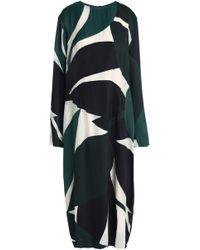 Marni - Printed Satin-twill Midi Dress Dark Green - Lyst