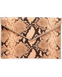 Rebecca Minkoff Zip-embellished Snake-effect Leather Envelope Clutch Peach - Multicolour