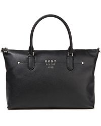 DKNY Pebbled-leather Tote - Black