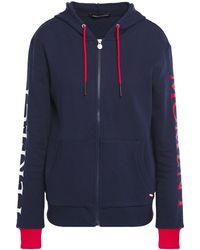 Perfect Moment Logo-embroidered French Cotton-terry Hoodie Navy - Blue