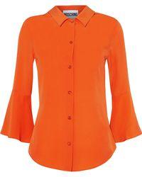 Moschino - Fluted Silk Crepe De Chine Shirt - Lyst