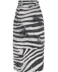 Marc Jacobs - Embellished Zebra-print Denim Midi Skirt - Lyst