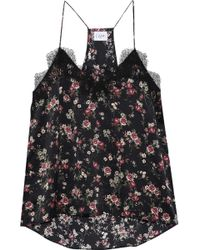Cami NYC - Woman The Racer Lace-trimmed Floral-print Silk-charmeuse Camisole Black - Lyst