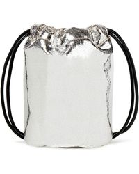 MM6 by Maison Martin Margiela Printed Metallic Faux Crinkled-leather Bucket Bag Silver