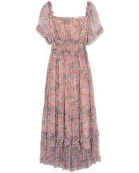 Love Sam Ruffled Gathered Floral-print Crepon Midi Dress - Pink