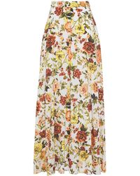 Zimmermann Zippy Basque Floral-print Silk-blend Maxi Skirt Ivory - White