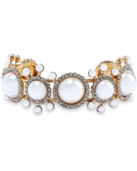 Elizabeth Cole 24-karat Gold-plated, Faux Pearl And Crystal Cuff White