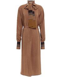 JOSEPH Pussy-bow Checked Silk Crepe De Chine Midi Dress - Brown