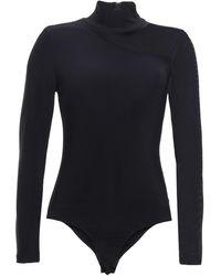 DKNY Asymmetric Mesh-paneled Stretch-jersey Turtleneck Bodysuit Black