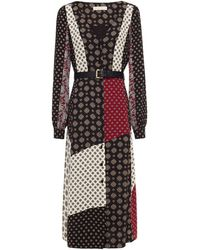 MICHAEL Michael Kors Belted Patchwork-effect Printed Crepe Midi Dress - Black