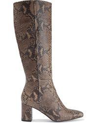 Iris & Ink Gigi Snake-effect Leather Knee Boots Animal Print - Brown
