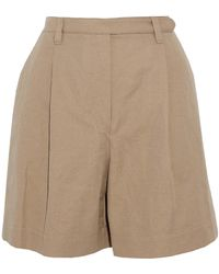 Brunello Cucinelli - Pleated Cotton And Linen-blend Twill Shorts - Lyst