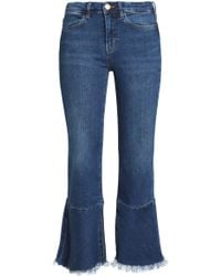 M.i.h Jeans - Cropped Frayed High-rise Flared Jeans - Lyst