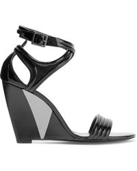 Roger Vivier - Patent-leather Wedge Sandals - Lyst