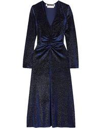 ROTATE BIRGER CHRISTENSEN Ruched Glittered Velvet Midi Dress - Blue