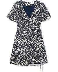 Rebecca Vallance - Flores Wrap-effect Ruffled Printed Crepe Mini Dress - Lyst