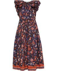Ulla Johnson Arina Ruffled Printed Cotton-poplin Midi Dress - Blue