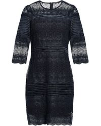 Maje - Woman Lace Mini Dress Navy - Lyst