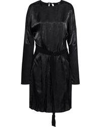 Ann Demeulemeester Belted Hammered-satin Dress - Black