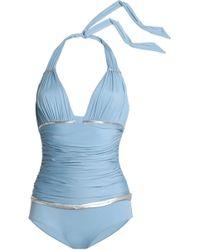 La Perla - Woman Ruched Metallic-trimmed Halterneck Swimsuit Light Blue - Lyst