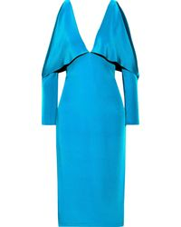 Cushnie Cold-shoulder Layered Silk Dress Turquoise - Blue