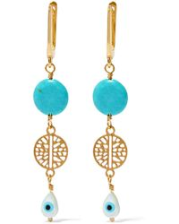 Iam By Ileana Makri - Ocean Tear Gold-plated, Turquoise And Mother-of-pearl Earrings - Lyst