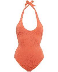 The Upside Edie Leopard-jacquard Halterneck Swimsuit Orange