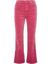 J Brand Julia Cotton-blend Velvet Kick-flare Pants - Multicolour