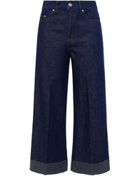 RED Valentino Cropped Studded High-rise Wide-leg Jeans - Blue