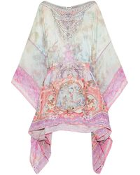 Camilla Electron Libre Embellished Printed Chiffon-paneled Silk-jacquard Coverup Lavender - Multicolour