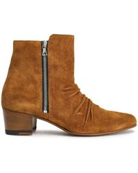 Amiri Gathered Suede Ankle Boots - Brown