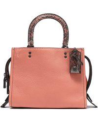 COACH - Snake-trimmed Textured-leather Shoulder Bag - Lyst