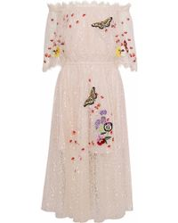 Temperley London Woman Leo Off-the Shoulder Embroidered Lace Midi Dress Beige - Natural