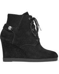 MICHAEL Michael Kors - Carrigan Suede Wedge Ankle Boots - Lyst