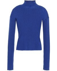 N.Peal Cashmere Ribbed Cashmere And Silk-blend Turtleneck Sweater Royal Blue