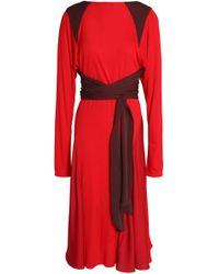 Vionnet - Wrap-effect Crepe De Chine-paneled Silk-jersey Dress - Lyst