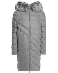 Vionnet - Woman Faux Fur-trimmed Hooded Quilted Wool And Cashmere-blend Coat Grey - Lyst