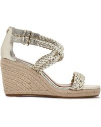 d2ded151256 Bailey Braided Metallic Leather Wedge Espadrilles Gold