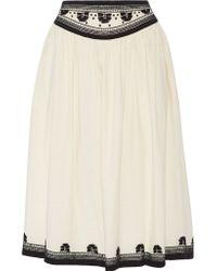 SUNO Embroidered Cotton Skirt - White
