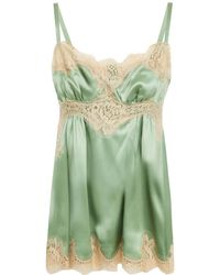Dolce & Gabbana Lace-trimmed Silk-blend Satin Camisole Light Green