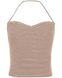Reformation Pomme Ribbed Striped Jersey Top Brown