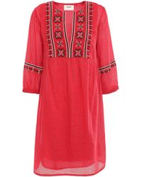 Ba&sh Agda Embroidered Metallic Cotton-blend Gauze Mini Dress Red