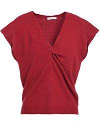 Joie Alenah Twist-front Cotton-blend Top Crimson - Red