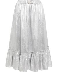 Shrimps Pearl Bow-embellished Metallic Jacquard Midi Skirt
